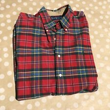 Polo Ralph Lauren Men's Red Classic Tartan Plaid Cotton Casual Shirt XL