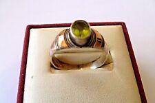 Signed 925 Sterling Silver & 14k Gold Bezel Set Peridot Vintage Ring 7.75