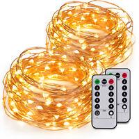 2x 100er LED 10m Lichterkette Micro Drahtlichterkette Batterie Weihnachten Timer