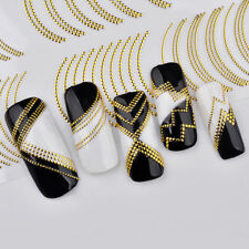 Gold Metal 3D Nagel Kunst Adhesive Transfer Stickers Stripes Wave Line Maniküre