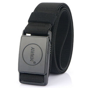 """1.5"""" Black Quick Release Tactical Belt with Magnetic Buckle Stretch Web Belts"""