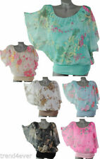 Polyester Batwing, Dolman Sleeve Machine Washable Floral Tops & Blouses for Women