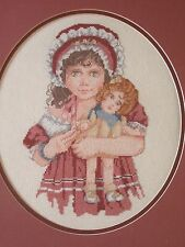 "Vintage Framed Needlepoint Little Girl With Doll Measures 17"" x15"""