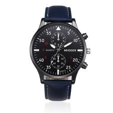 Fashion Men's Watch Stainless Steel Leather Analog Quartz Boys Sport Wrist Watch