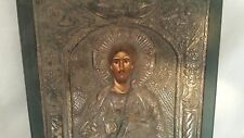 CONTEMPORARY GREEK ICON OF CHRIST STERLING SILVER 7 WOOD 12 1/2 '' TALL