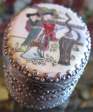 Chinese Porcelain and Metal Box With Mirror