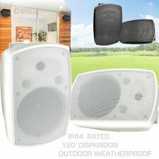 Outdoor Garden Speakers Pair Weatherproof IP44 Rated Music summer Black White