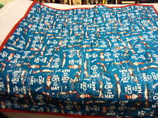 DR SUESS CAT IN HAT BABY QUILT HANDMADE 44 BY 38 QUILTED IN KITES RED BINDING