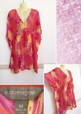 Suzannegrae Size M Summer Beach Resort Carnival Orange Pink Yellow Sheer Top