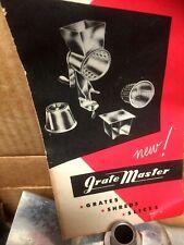 Vintage GRATE MASTER Food Grater Slicer Shredder Metal Utensil w/ 3 Cones in Box