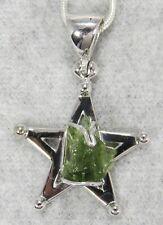 MOLDAVITE PENDANT $69 Tektite Sterling Silver Jewelry STARBORN CREATION MP69-R12