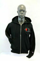 Champion Reverse Weave Full Zip Black Hoodie Chenille Big Patch Logo Classic