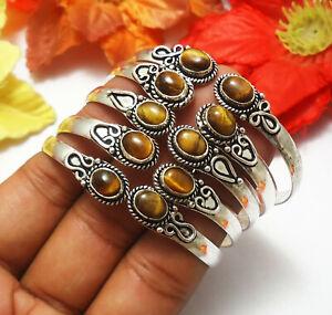 Tigers Eye Gemstone 10pcs Cuff Bracelet 925 Sterling Silver Plated Jewelry