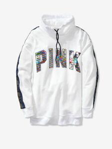 Victoria's Secret PINK White SEQUIN BLING Sweatshirt Pullover COWL NECK XS New