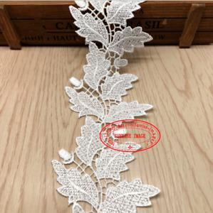 BF240 1yard Crochet leaf Lace Trim Embroidery Wedding Bridal Ribbon Sewing Craft