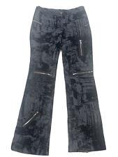 Vintage Bebe Black Velvet Patch All Over Zipper Pants Women's Size S -USA  Made