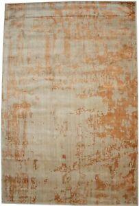 Orange Distressed Floral Design Large 6X9 Hand-Loomed Modern Rug Decor Carpet
