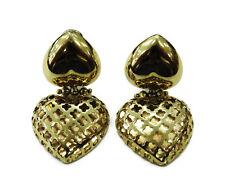 14k Yellow Gold Double Heart Ladies Earrings ~ 9.8g
