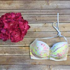 VICTORIA'S SECRET 34D Swim The Getaway Halter Bikini Top Ruched - D32
