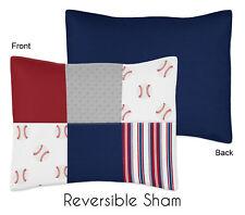 Red White Blue Standard Pillow Sham for Boys Baseball Patch Sports by Sweet Jojo
