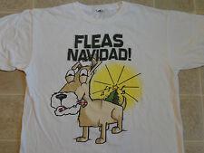 FLEAS NAVIDAD Dog Feliz T-SHIRT LG Merry Xmas Funny Novelty Holiday Humor Canine