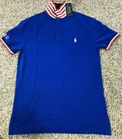 RALPH LAUREN MEN'S SZ Small MESH SHIRT RED WHITE BLUE PONY LOGO USA