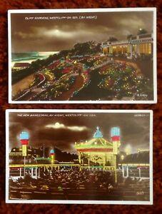 Vintage Postcard.  Westcliff on Sea.  By Night. (EZO)