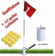 Golf Fahne + Hole mit Loch + 12 Übungsbälle / Luftbälle in gelb *NEU und OVP*