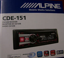 NEW ALPINE CDE-151 AM/FM/CD/USB CAR STEREO FRONT USB 3.5mm iPod iPhone 2 PREOUT