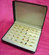 NEW BOX 36 GOLD PLATED LADIES RINGS SPARKLING STONES