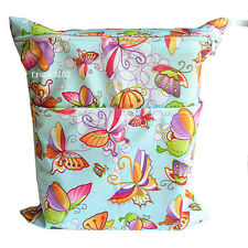 Wet Dry Bag Baby Cloth Diaper Nappy Bag Waterproof Reusable Butterfly Two Zipper