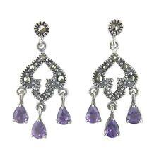 Amethist mercasite fancy drop earrings
