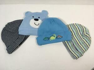 4 Piece Lot Carter's & Gerber Dinosaur, Teddy Bear & Striped Beanie Hats, Sz NB