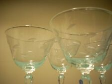 6 Libbey Etched Clear Glass Stemware Cocktail Martini Champagne Glasses
