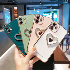 Girl's Bling Diamond Heart Plating TPU Case For iPhone 12 11 Pro Max XS XR 7 8