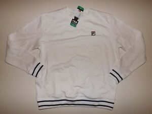 FILA White Navy Pullover Sweatshirt XL X-Large French Terry NWT Womens