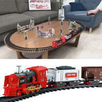 Electric Track Train Toy Set Steam Train With Smoke Lights Sounds Kid's Gift UK