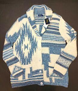 Polo Ralph Lauren Southwestern Shawl Cardigan Cream Blue Size Large