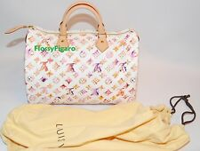 AUTHENTIC LOUIS VUITTON WATERCOLOR AQUARELLE MARC JACOBS SPEEDY 35 WHITE SUPERB