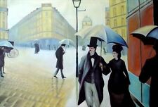 "Caillebotte Gustave repro Oil Painting  - Paris Street, Rainy Day - size 36""x24"""