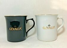 Gevalia Kaffe - Pair of White & Black Coffee Mugs with Gold Block Lettering Logo
