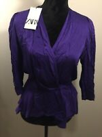 Zara Size Medium Purple Sateen Wrap Blouse