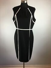 Calvin Klein Womens Sheath Dress 12 Black White Trim Sleeveless