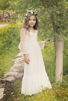 White Ivory Lace Boho Flower Girl Dresses First Communion Dress Princess Gown