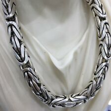 Mens Round King Byzantine Oxide Necklace 925 Silver Sterling 10mm 344GR 26Inch