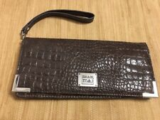 Mac & Jac Faux Leather Reptile Look Brown Long Clutch Wallet Credit Card Holder