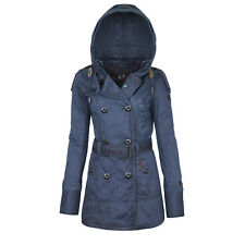 Khujo Damen Übergangsjacke mit Kapuze abnehmbarer Gürtel Trenchcoat