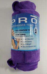 Pro Performance Microfiber Towel Set 2 Piece (1 Gym-1 All Purpose) Solid Purple