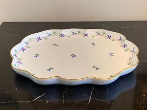 Herend Hungary Porcelain Blue Garland 420/PBG Serving Tray