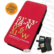 Printed Faux Leather Flip Phone Case For Huawei - Emirates Stadium Coordinates